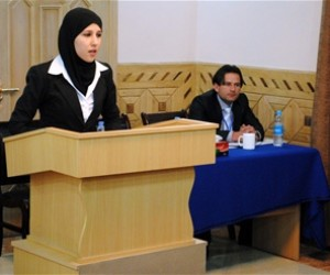 Mursal Shirzad, a fourth year law student at Kabul University, presents oral argument during the Phillip C. Jessup International