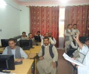 Students learning computer skills at DABSKandahar.