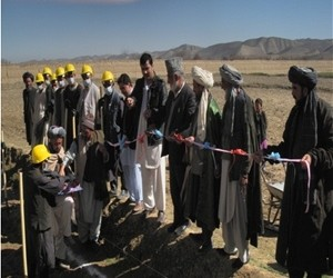 Community elders gather to start the work on the irrigation canal cleaning project in Shirin Tagab District
