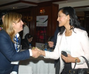 Hassina Syed, president of the Syed Group of Companies meets Shailajh Bista, an official of the US Embassy New Delhi at the inve