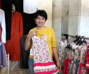 Gulnaz Baiturova at a 2015  textiles trade fair in Bishkek