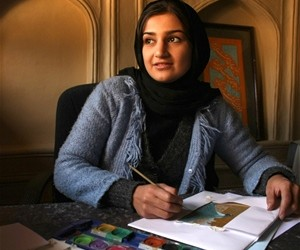 Fakhria, a student of the Afghan Arts Institute, specializes in calligraphy and miniature painting
