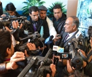 The mayor of Mazar-e-Sharif fields questions from the press during the public hearing