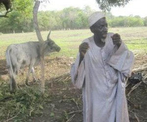 A herder celebrates the return of a stolen cow.
