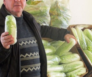 Anatoly Merkotyan, farmer from Kherson oblast, sells his products at the Shuvar Market.