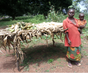 Odette Kofedanga with her maize harvest