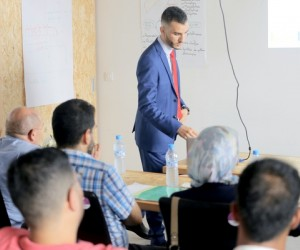 Marouane Bouzakhti shows his newfound skills at a USAID Career Center workshop