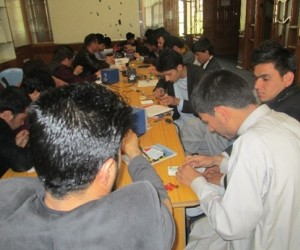 A mobile phone repair course conducted by the Afghan Mobile Reconstruction Association