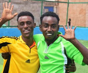 Najib and Abdullahi during a sports drill session in BeletHawa.