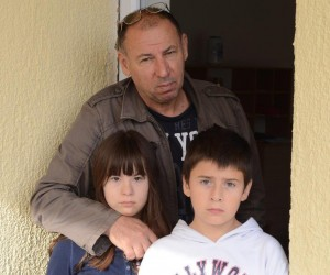 Bozo Ninkovic from Samac with his son and one daughter. They lost everything when their home was under 10 feet of water.