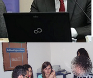 Photo collage of professor