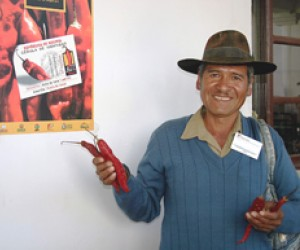 A farmer shows a sample of the chili peppers he sold at the International Red Chili Pepper Festival in Padilla, Bolivia.