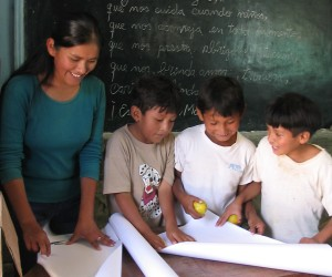 To gain teaching experience, a USAID scholarship recipient volunteers at a school near Carmen Pampa, in Bolivia's Yungas r