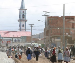 Public infrastructure projects in Bolivia, like this road under construction in El Alto, a town just north of La Paz, are awarde