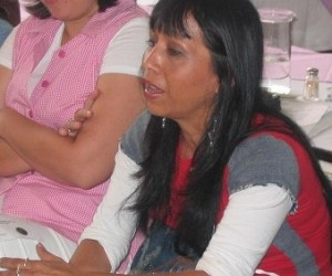 Vilma Dinora Morales, a champion of women's rights in Villa Nueva, attends a domestic violence training session.