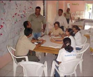 Workers at the Emergency Operations Center in Honduras