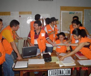 A response team practices an earthquake scenario
