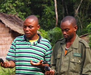 A park guard learns to use a compass and GPS unit to enhance law enforcement efforts and combat poaching at the national park.