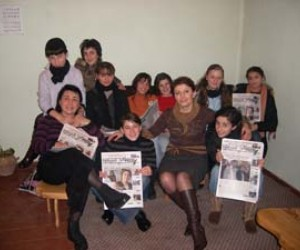 The editorial board and volunteers of the political newspaper Meskheti Express, including Marina Modebadze (a founder and curren