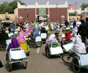 Members of Kano Polio Victims Trust Association during a rally at the palace of the Emir of Kano, northern Nigeria.