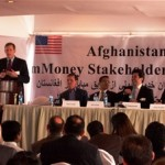 Representatives from Afghanistan's four mobile network operators speak at the USAID-sponsored mMoney Stakeholder Summit.