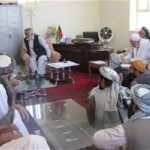 Community members meeting with the district governor of Charbolak in Balkh Province.