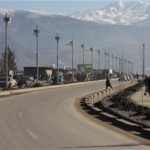Newly installed solar streetlights line the road into Fayzabad in Badakhshan Province. The road itself, which links Fayzabad wit