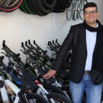 Ala Daibes, owner of North Jordan Mountain Bike Center, stands in his shop shortly after the grand opening.