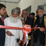 President Hamid Karzai and Minister of Energy and Water Ismail Khan inaugurating the power line from Uzbekistan to Kabul.