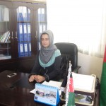 Fereshta Faizi in her office at the Directorate of Women's Affairs in Herat Province. Fereshta is one of 25 women placed in vari