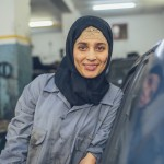 Najlae Lachkar interning at a local car garage in her hometown of Tetouan as part of the USAID FORSATY training program