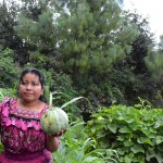 Sheny holds a vegetable from her home garden