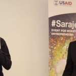 Emin Hodzic (L) and Adnan Mujic present their winning Light Docs business concept at the Balkan startup competition in May 2014.