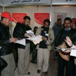 Job seekers received an orientation upon arriving at a job fair sponsored by USAID and the Jordanian Ministry of Labor.