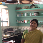 Above: Many women in this Indian village use traditional cookstoves to cook rotis (Indian flat bread). Some who can afford to buy electric ones cannot use them because of daily power cuts. Below: Sumangala Patil with her solar-powered roti making machine.