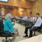 Trainees in the SBDC program conduct a mock consulting case between an SBDC and a financial institution.