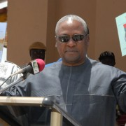 Ghanaian Vice President John Dramani Mahama is briefed on street naming and numbering projects, April 28, 2012.