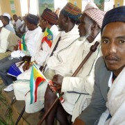 Traditional leaders of Borena, Gabra and Guji clans sit together during ratification ceremony of the Negele Peace Accord, follow