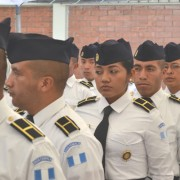 Students at the launching of Guatemala's bachelor's degree program in police science with a specialization in community-based po