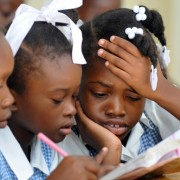 Schoolchildren concentrate at Ecole Marie Dominique Mazzarello in Port-au-Prince.