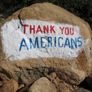 This painted rock was spotted in a district where the residents participate in the Ethiopian Government's Productive Safety Net