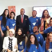 USAID Career Center Ambassadors with Ambassador Bush and USAID Mission Director Dana Mansuri at the Marrakech opening