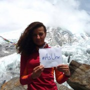 A Kosovar alpinist Arineta Mula supports DIA's awareness campaign #AsUne (#NeitherI) that calls on voters not to vote for corrupted candidates    Everest, May 2017