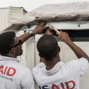 As shelter remains a critical need after Hurricane Matthew, USAID teamed up with the International Organization for Migration (IOM) to train local staff on USAID's Disaster Assistance Response Team in Haiti on how to install and use USAID plastic sheeting and shelter kits properly.