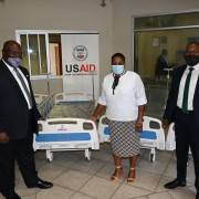 At the handover of 70 ICU beds donated by the United States to Namibia (from left to right): McDonald Homer, USAID Country Representative, Hon. Dr. Esther Muinjangue, Deputy Minister of Health and Social Services, and Ben Nangombe, Executive Director of the Ministry of Health and Social Services.