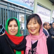 Provincial Director of Women's Affairs Fariba Majid and Ching Eikenberry, wife of U.S. Ambassador Karl Eikenberry, inspect the n
