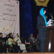 Ms. Brooke Isham, USAID deputy mission director speaks at the international day of the midwife celebration in Kabul.