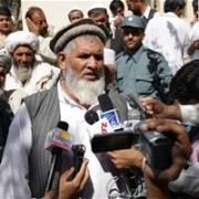 The Chairman of the Qarghaee's shura, established by USAID's Afghanistan Social Outreach Program (ASOP), talking to the media ab
