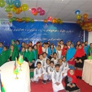 A group of children who participated in the awareness-raising celebration focusing on civic education, rule of law, and justice.