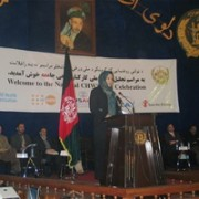 Acting Minister of Public Health Dr. Suraya Dalil speaks at the ceremony honoring community health workers.